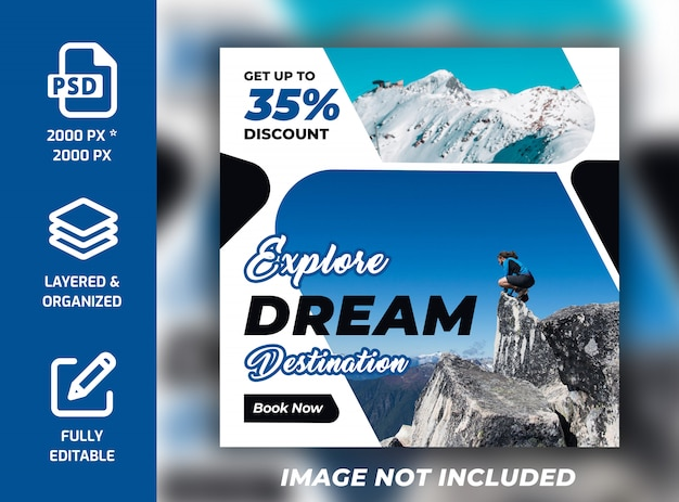 Travel holiday vacation instagram square banner psd template