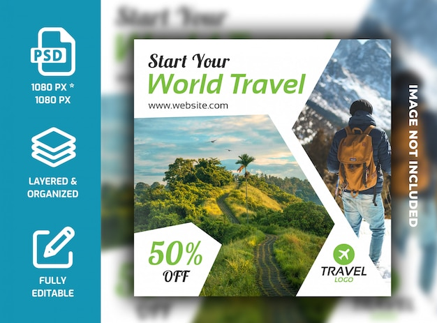 Travel  holiday vacation social media post banner template psd