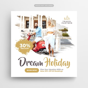 Travel holiday vacation social media post & web banner
