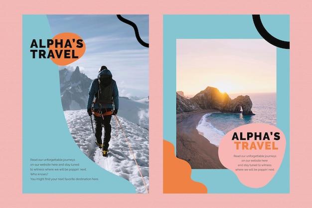 Шаблон туристического маркетинга psd рекламный плакат для агентств двойной набор