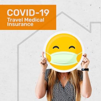 편집 가능한 텍스트가 있는 소셜 미디어용 여행 의료 보험 템플릿 psd