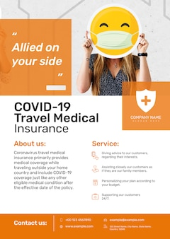 Modello di assicurazione medica di viaggio psd per poster con testo modificabile
