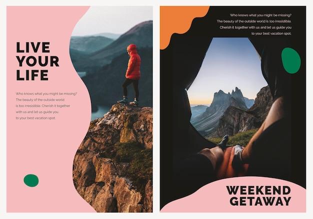 Poster pubblicitario psd modello di marketing di montagna di viaggio per le agenzie dual set