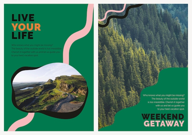 Travel mountain marketing template psd ad poster for agencies dual set