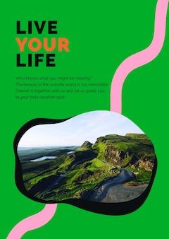 Poster pubblicitario psd modello di marketing di montagna di viaggio per le agenzie