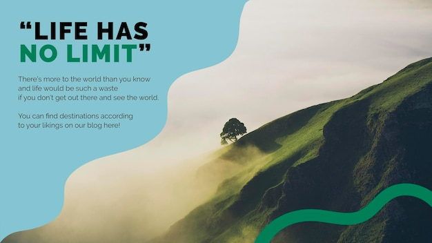 Presentazione psd del modello di marketing di montagna di viaggio per le agenzie