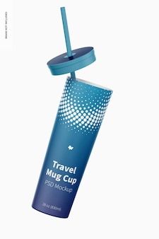 여행 머그 컵 목업, 떨어지는