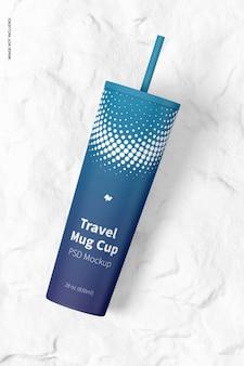 여행 머그 컵 목업 평면도
