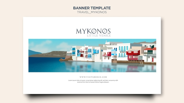 Travel mykonos banner template