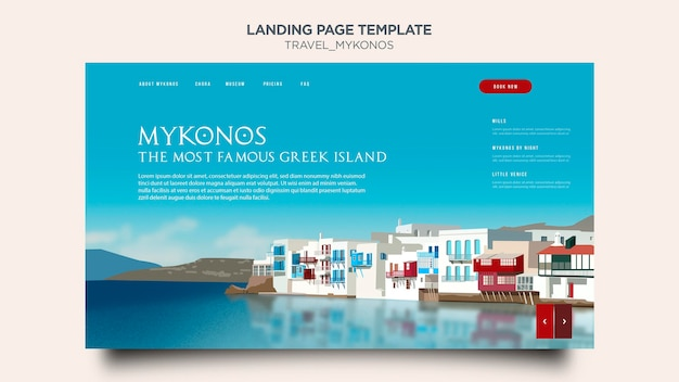Travel mykonos landing page template