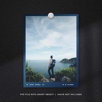 Travel photo frame mockup design