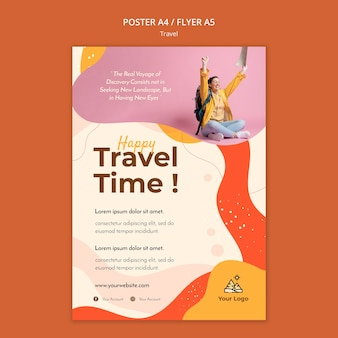 Travel poster template design