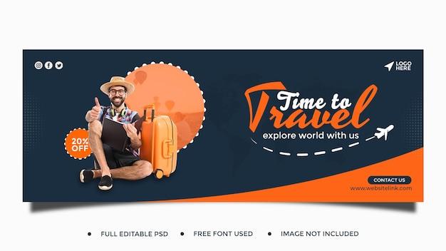 Travel sale facebook banner template