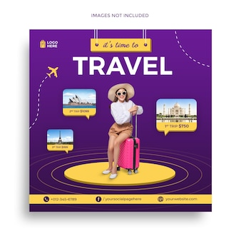 Travel sale social media post banner template or holiday tour packages instagram post flyer