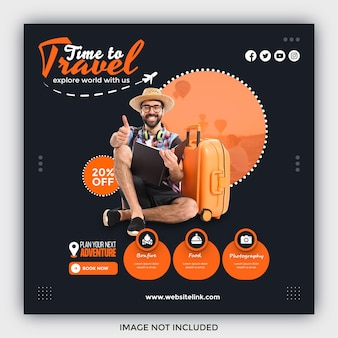 Travel sale social media post template