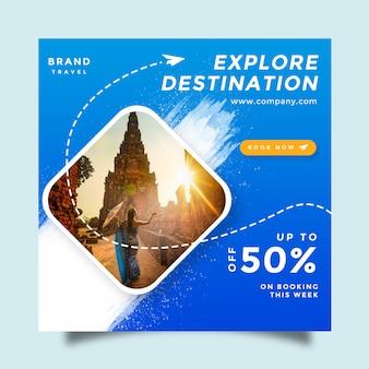 旅行ソーシャルメディアフィードポストプロモーションデザイン