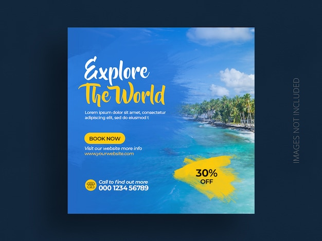 여행 휴가 휴가 인스 타 그램 포스트 광장 우대 여행 소셜 미디어 게시물 배너 템플릿