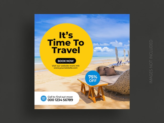 Travel social media post banner template or tour holiday vacation instagram post square flyer