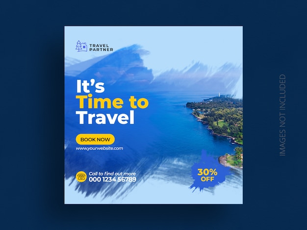 Travel social media post banner template for tour holiday vacation instagram post square flyer