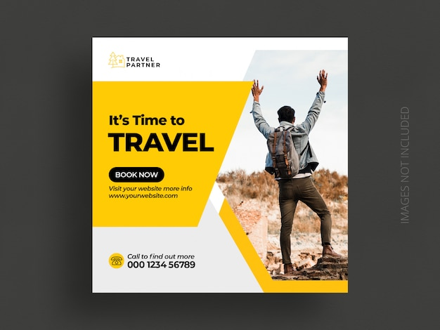 Travel social media post banner template or tour holiday vacation instagram post