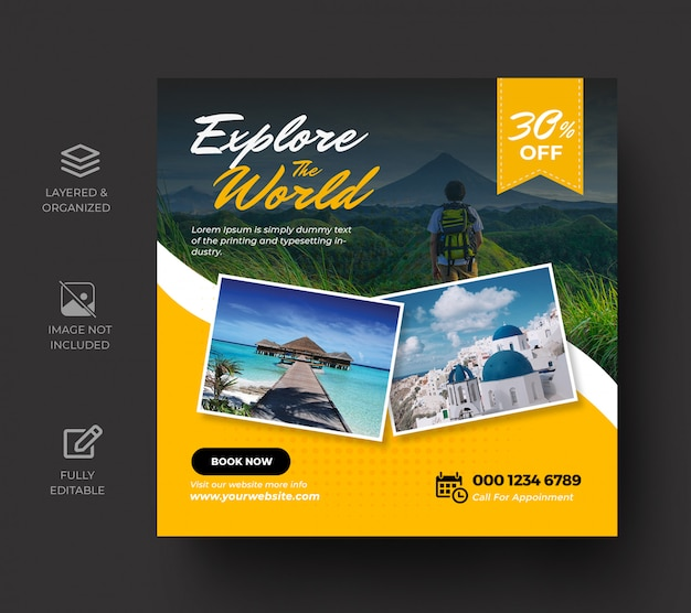 Travel social media post banner template or tour holiday vacation