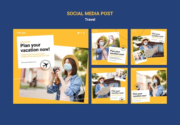 Travel social media posts with photos