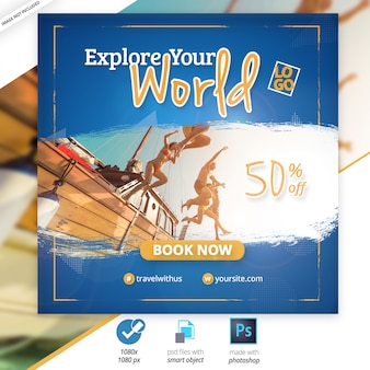 Travel social media web banner ad