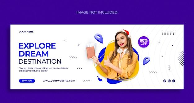 Travel social media web banner flyer and facebook cover design template