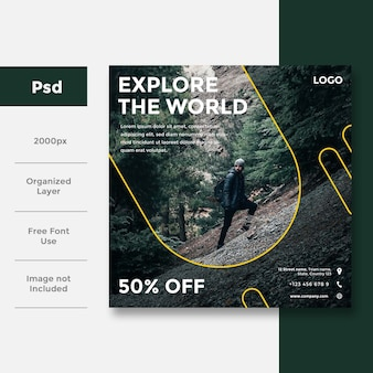 Travel social social media banner ad design
