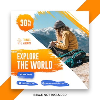 Travel square banner template