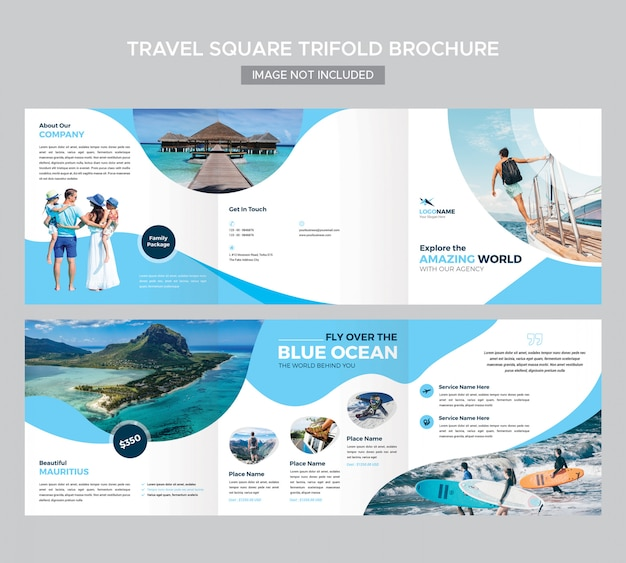 Travel square trifold brochure template