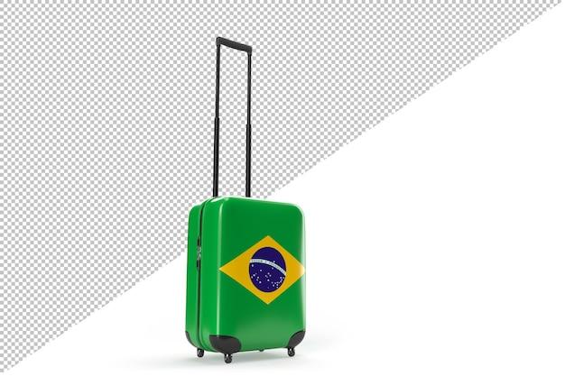 브라질 국기가 달린 여행 가방. 여행 개념입니다. 외딴. 3d 렌더링