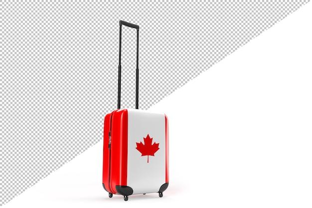 캐나다 국기가 달린 여행 가방. 여행 개념입니다. 3d 렌더링
