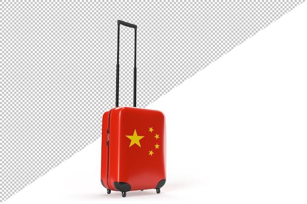 중국 국기가 달린 여행 가방. 여행 개념입니다. 외딴. 3d 렌더링