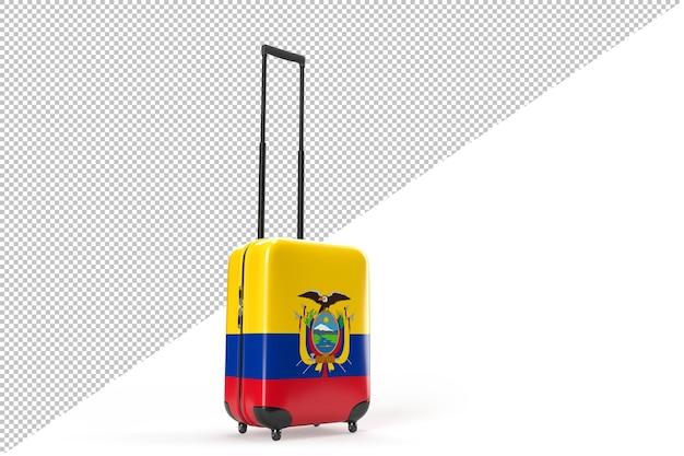 에콰도르의 국기와 함께 여행 가방입니다. 여행 개념입니다. 3d 렌더링