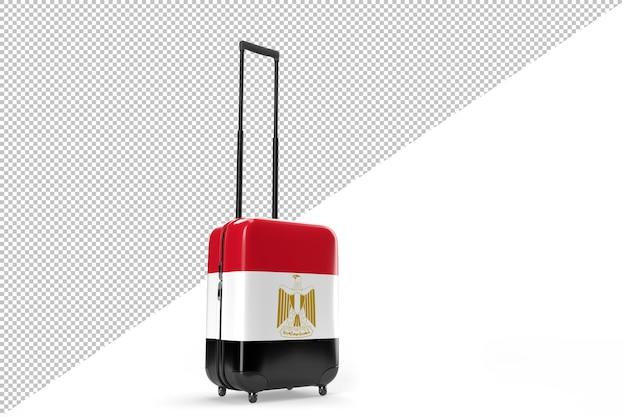 이집트의 국기와 함께 여행 가방입니다. 여행 개념입니다. 3d 렌더링