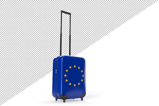 유럽 연합의 국기와 함께 여행 가방입니다. 여행 개념입니다. 외딴. 3d 렌더링