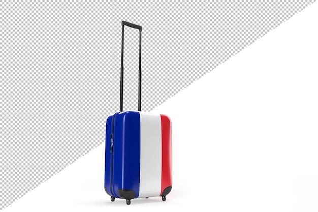프랑스의 국기와 함께 여행 가방입니다. 여행 개념입니다. 3d 렌더링