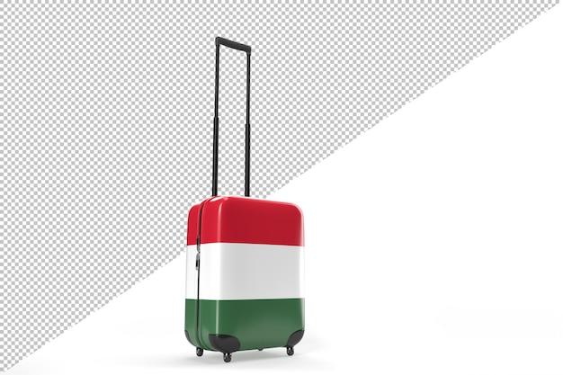 헝가리의 국기와 함께 여행 가방입니다. 여행 개념입니다. 3d 렌더링