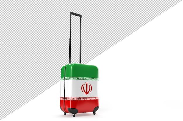 이란의 국기가 달린 여행 가방. 여행 개념입니다. 3d 렌더링
