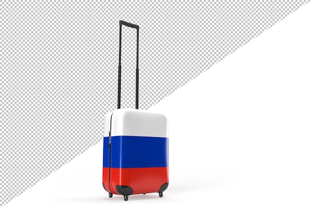 러시아 국기가 달린 여행 가방. 여행 개념입니다. 3d 렌더링