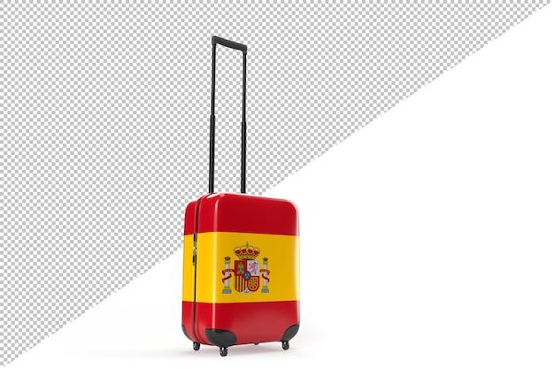 스페인의 국기와 함께 여행 가방입니다. 여행 개념입니다. 3d 렌더링