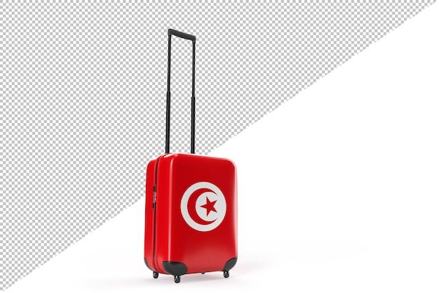튀니지의 국기와 함께 여행 가방입니다. 여행 개념입니다. 외딴. 3d 렌더링