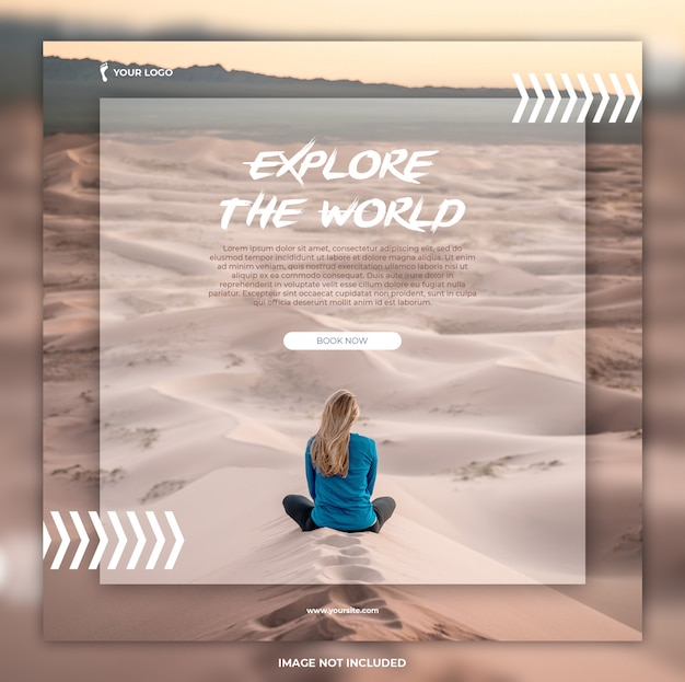 Travel summer vacation square banner and flyer template