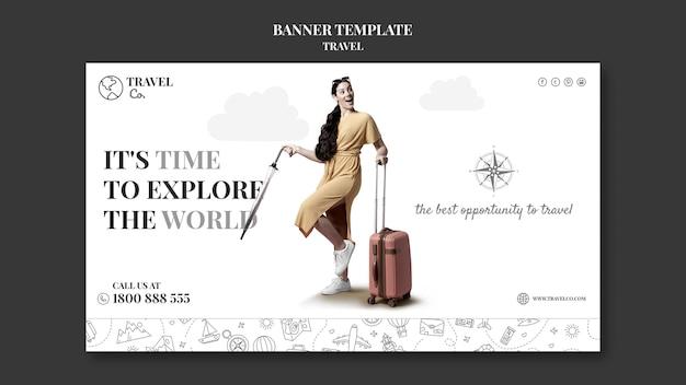 Шаблон баннера путешествия по миру