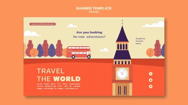 ランドマークのある世界の水平バナーテンプレートを旅行する