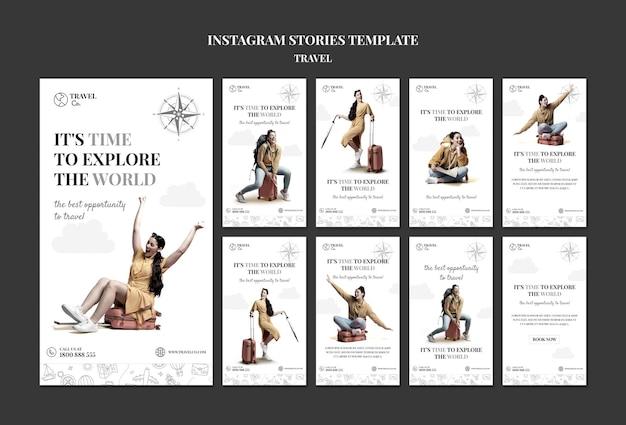 Шаблон истории instagram путешествия по миру