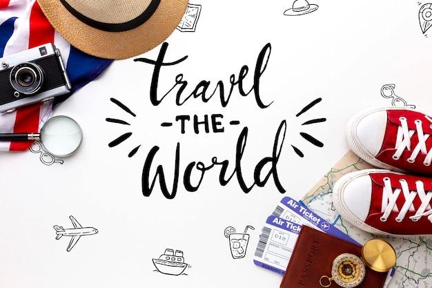 목업으로 세계 메시지 여행 무료 PSD 파일