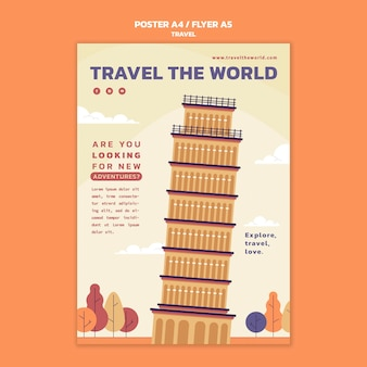 世界を旅する垂直ポスターテンプレート