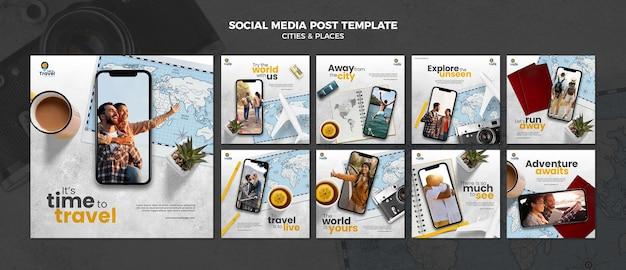 여행 시간 소셜 미디어 게시물